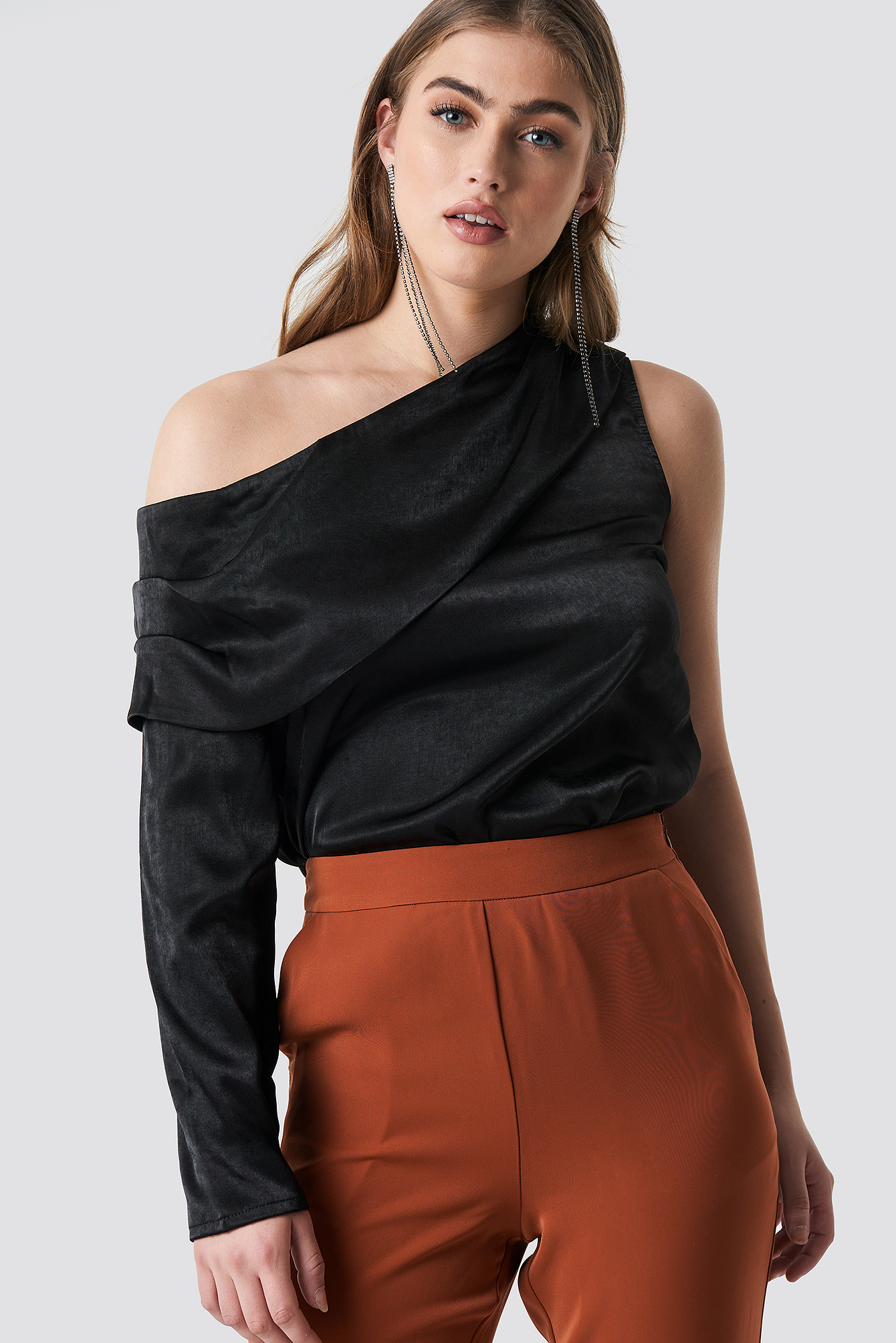 One Shoulder Satin Blouse NAKDLOUNGE.COM