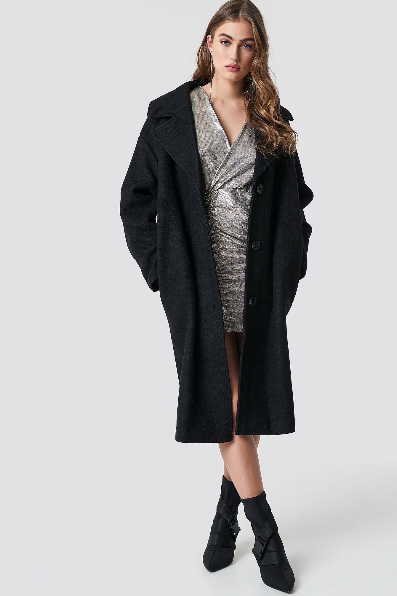 Oversized Wool Blend Coat NAKDLOUNGE.COM