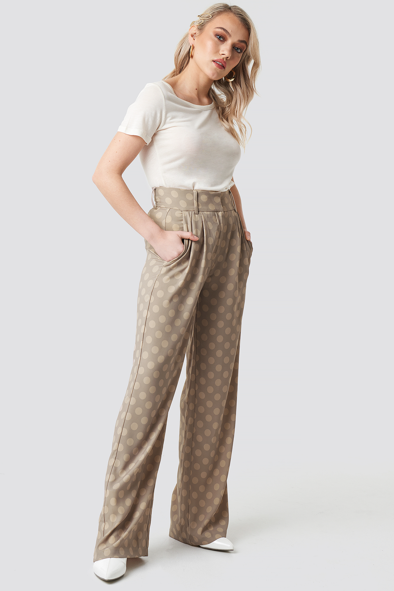 Spotted Wide Leg Trousers NAKDLOUNGE.COM