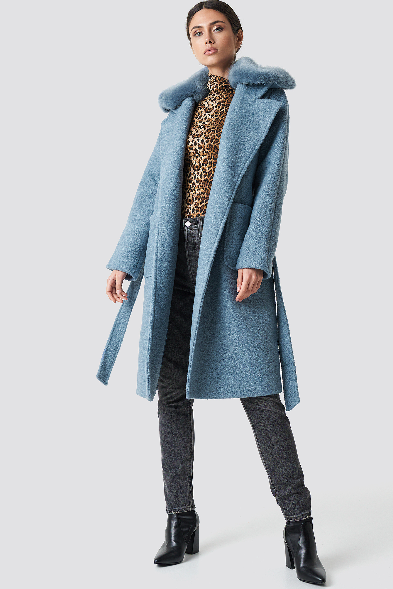 Big Faux Fur Collar Coat NAKDLOUNGE.COM