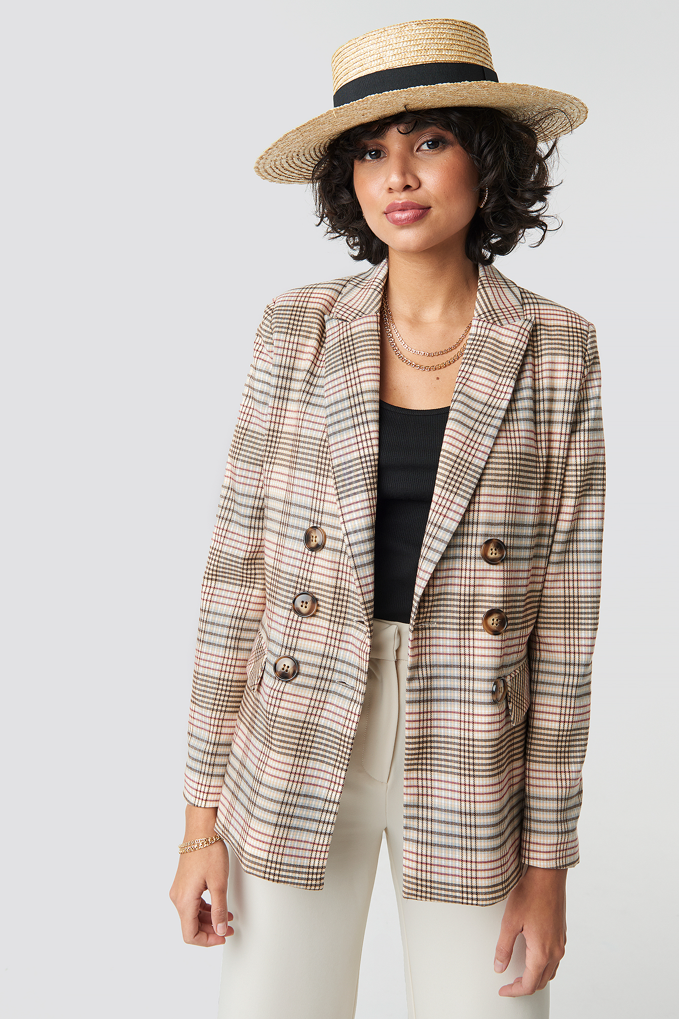 Checkered Straight Double Breasted Blazer NAKDLOUNGE.COM