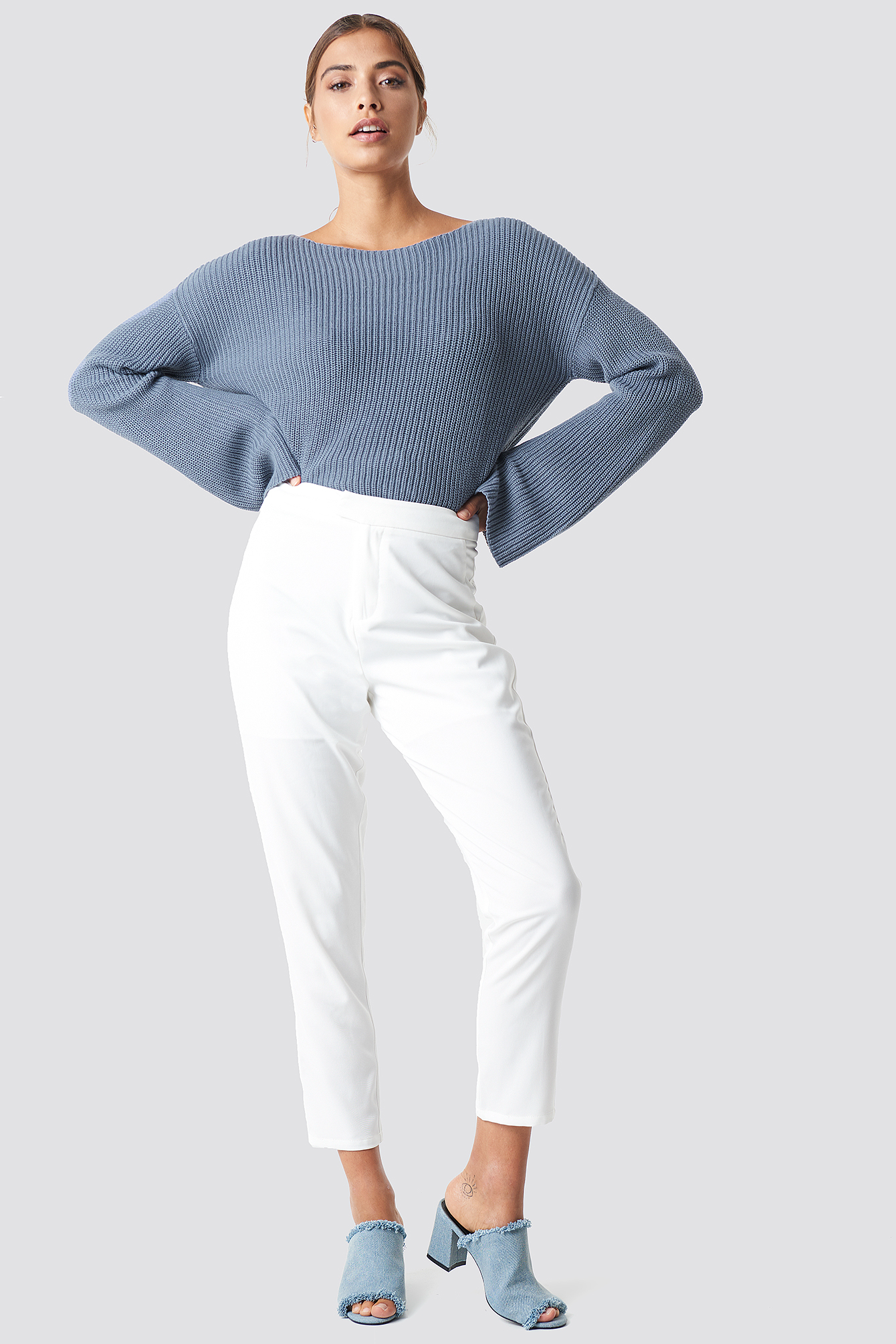 Cropped Long Sleeve Knitted Sweater NAKDLOUNGE.COM