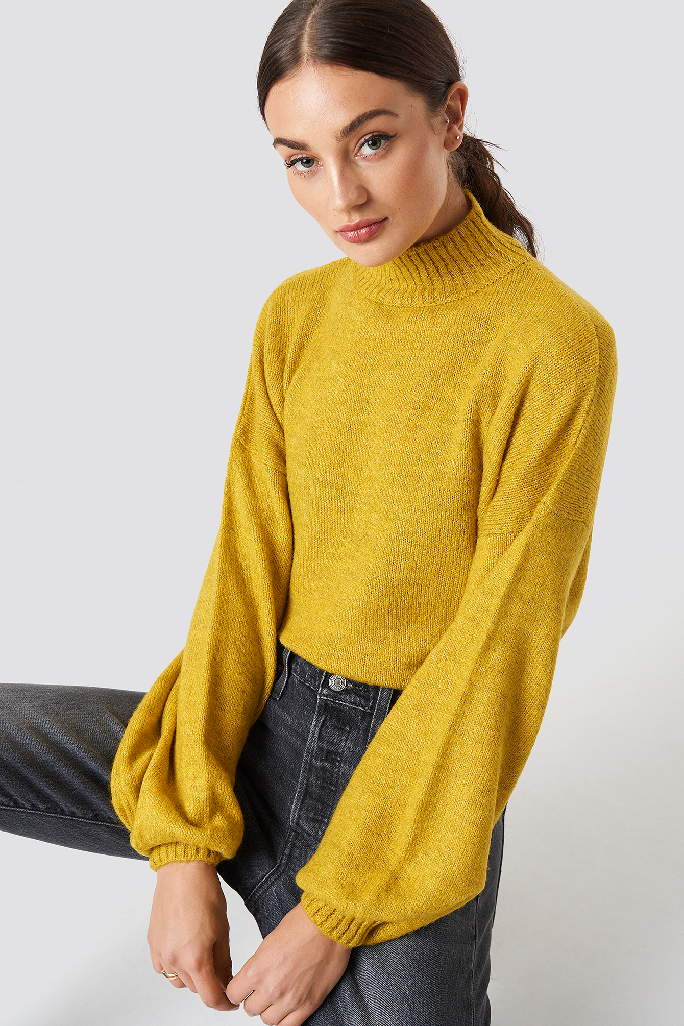 High Neck Balloon Sleeve Knitted Sweater NAKDLOUNGE.COM