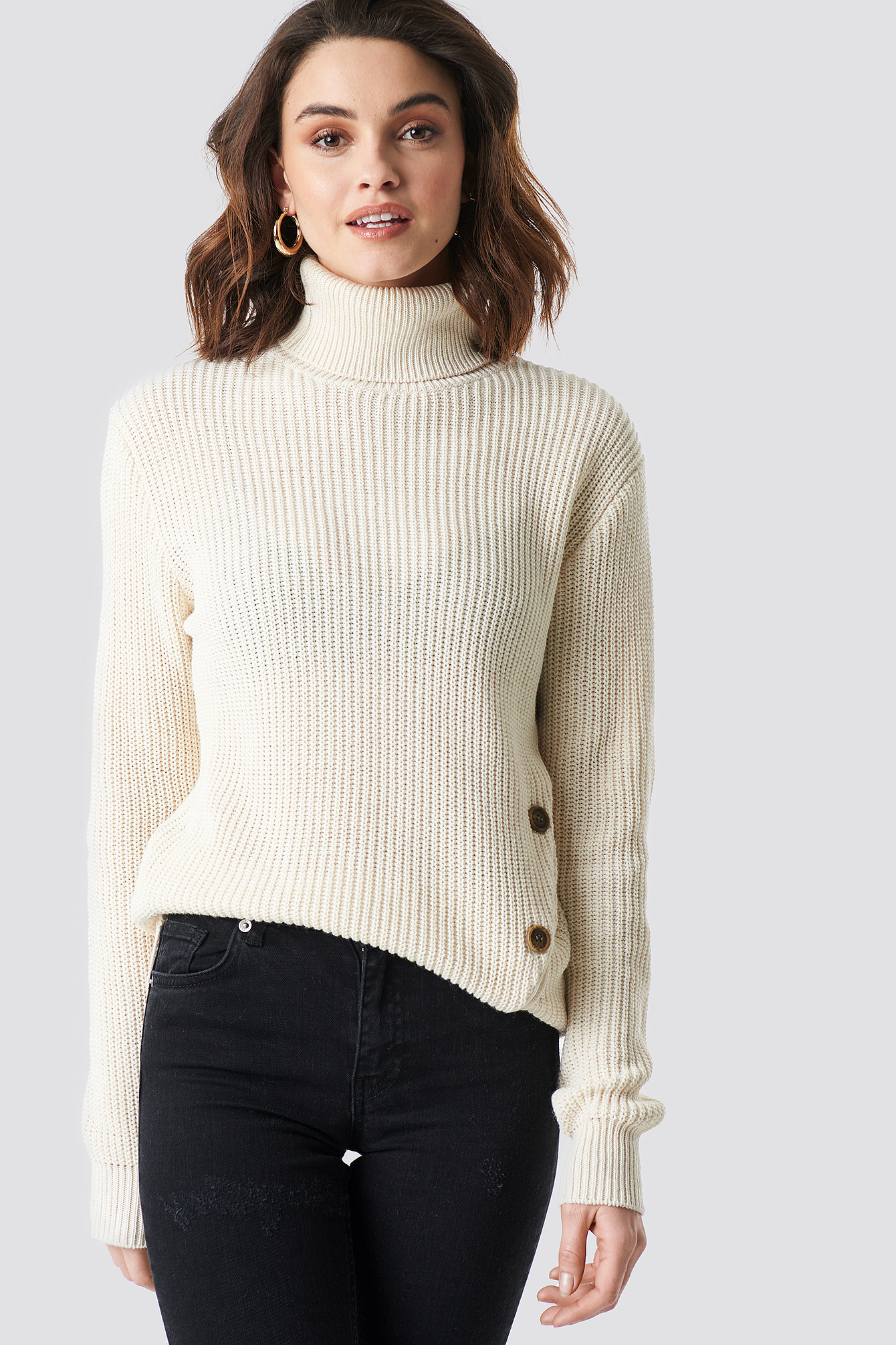 Side Buttoned Knitted Sweater NAKDLOUNGE.COM