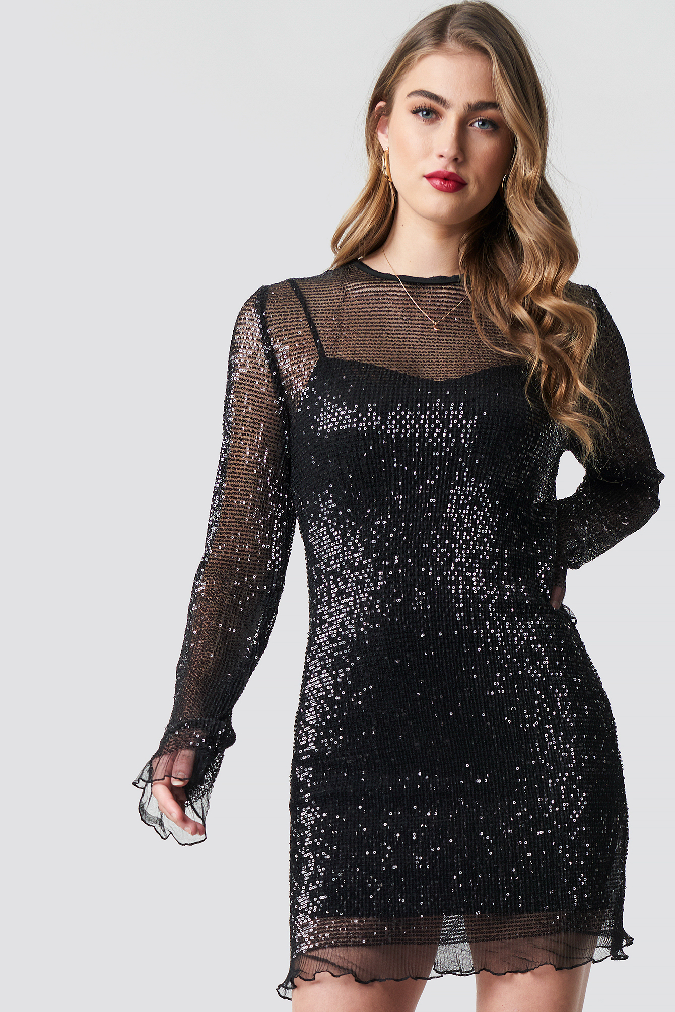 LS Sequin Transparence Dress NAKDLOUNGE.COM