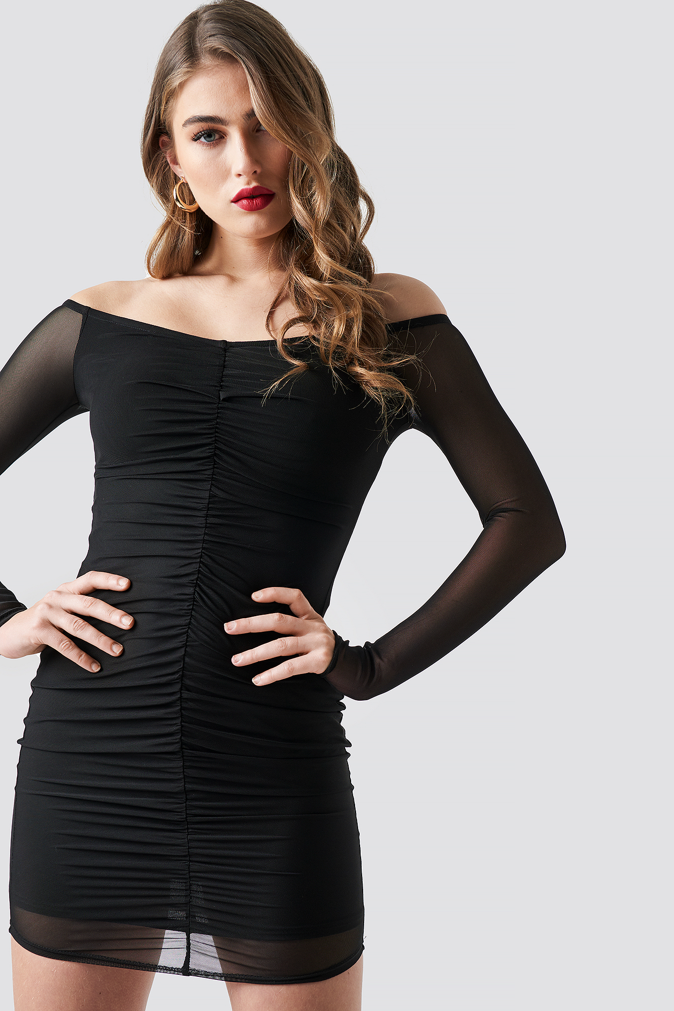 Off Shoulder Ruched Mesh Dress NAKDLOUNGE.COM