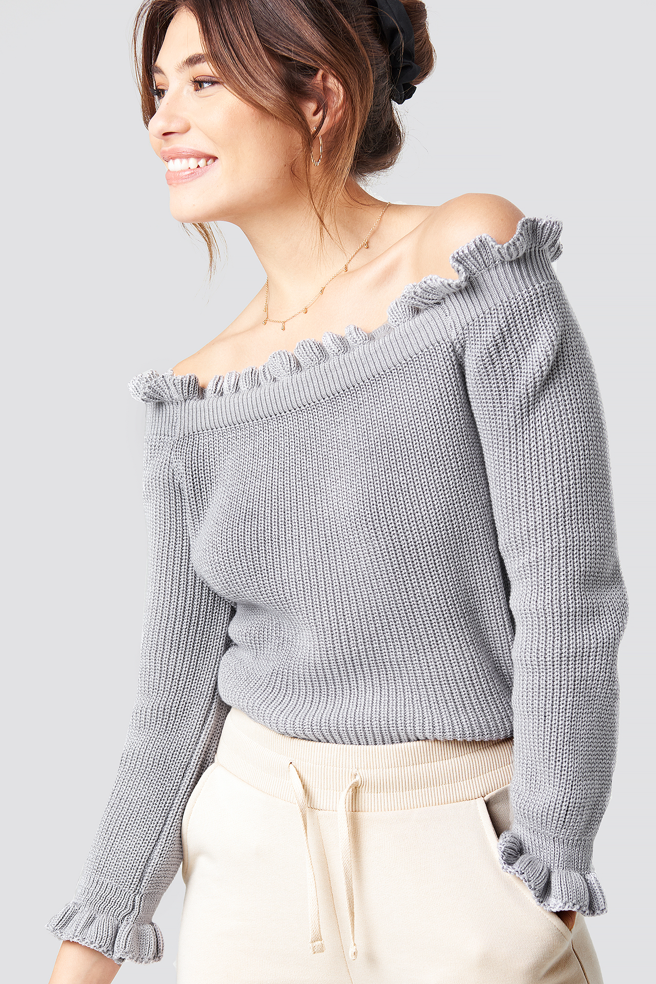 Ruffle Off Shoulder Knitted Sweater NAKDLOUNGE.COM